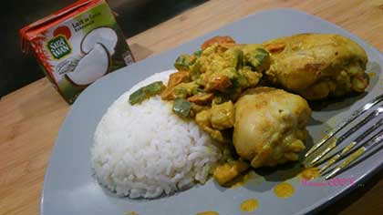 Poulet coco / curry et courgettes